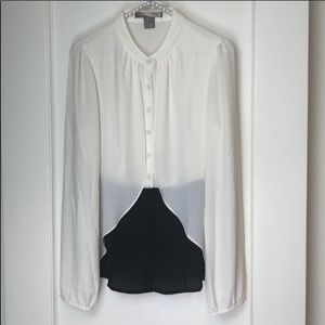 Forever 21 Cream and Black Button Up Blouse NWT M